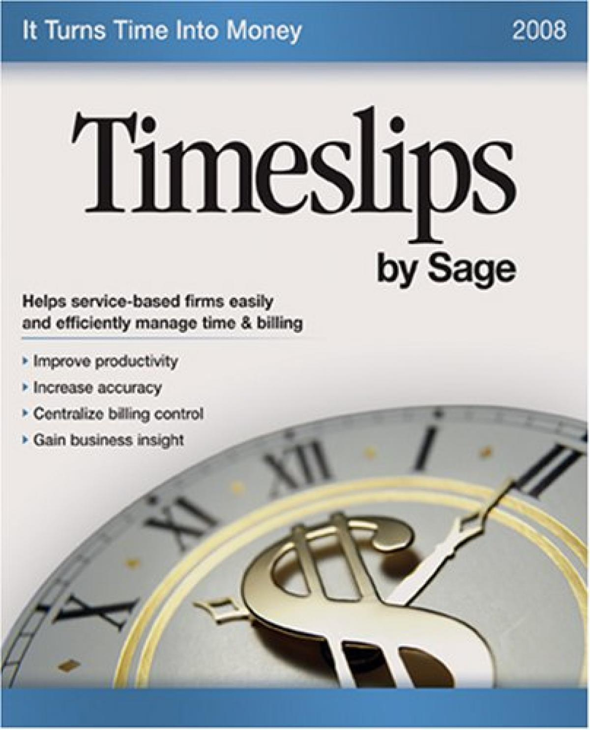 Sage Timeslips 2008 certified consultants offering Timeslips classes, support, and database repair.